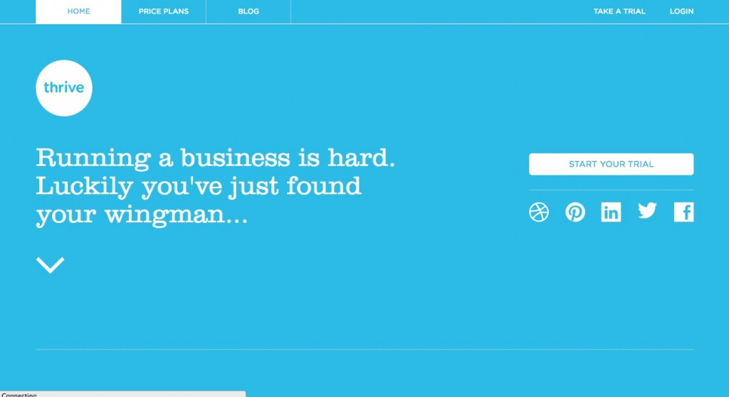 """Screenshot of Thrive Sole App Homepage, it's bright blue background color with simple text that says 'Running a business is hard. Luckily you've just found your wingman..."""""""