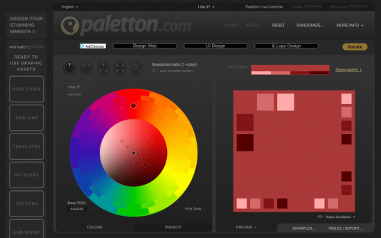 Screenshot of Paletton.com - Colour Picker Tool