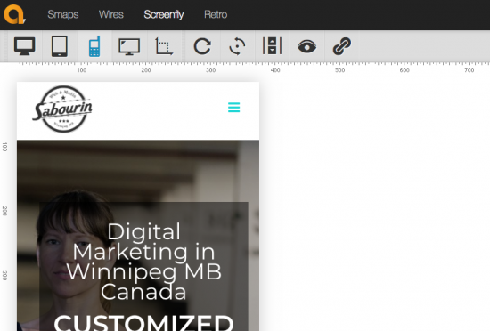 Screenshot of using Screenfly from Quirktools to test my website homepage for mobile screensize